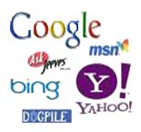 Google, Yahoo, MSN, Bing, Ask, and dogpile logos Just a few of the directories we submit your site to